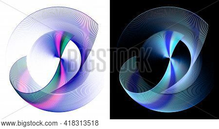 Blue Transparent Wavy Elements With Multicolored Striped Inserts Revolve On White And Black Backgrou