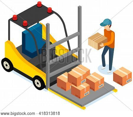Driver Looks At Forklift With Boxes, Carriage Of Cardboard Containers With Parcels Inside. Forklift