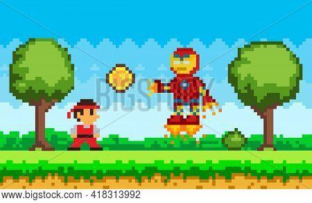 Robot In Jet Boots Attacks Cartoon Character. Pixelated Bot Flying Near Ninja In Suit. Pixel Game De