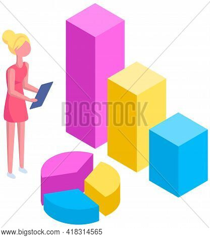 Woman Studies Statistics Shown On Bar Chart. Analyze Graphs And Charts Concept. Girl With Clipboard