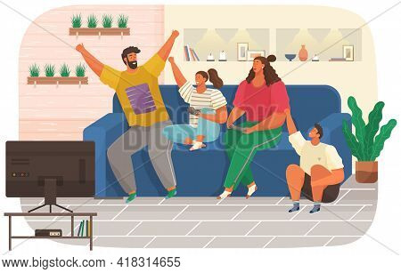 Parents And Children Relaxing In Apartment With Tv. Family Spend Time Together In Living Room. Inter