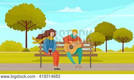 People In Love Resting In Park And Singing Songs Together. Cartoon Happy Young Characters Sitting On