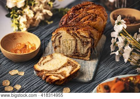 Freshly Baked Sourdough Sweet Swirl Bread Walnut Babka, Twisted Loaf Bread