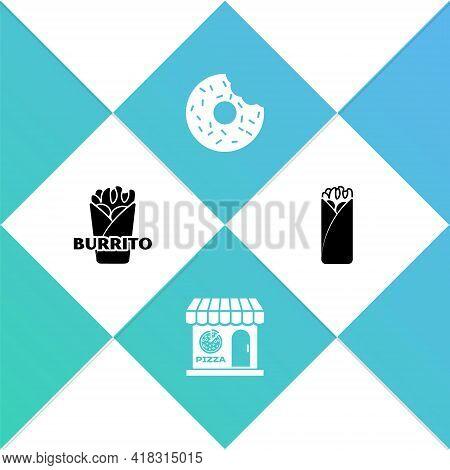 Set Burrito, Pizzeria Building Facade, Donut And Icon. Vector