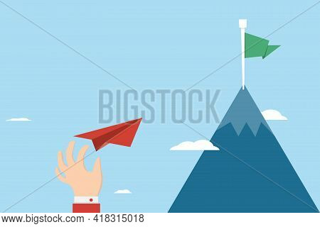 Businessman Throwing Paper Plane To Get Target Business Financial Concept Start Up, Leadership, Crea