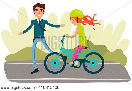 Man In Business Suit Teaches Daughter To Ride Bike For First Time. Dad Helping Girl Kid Riding Bicyc