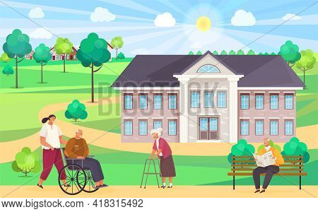 Nursing Home. Girl Pushes Wheelchair Couple Walking And Talking Outdoor In Park. Disabled Man On Wal