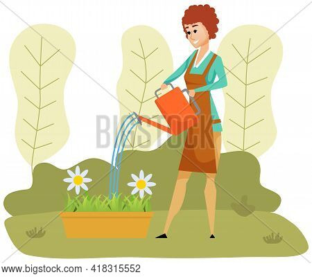 Girl Is Watering Flowerbed. Female Character With Watering Can Takes Care Of Nature And Plants. Woma