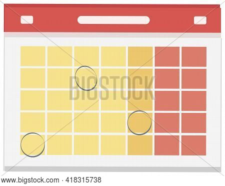Calendar Day Graphic Template. Empty Space For Vector Illustration Flat Style. Date Day Of Month, We