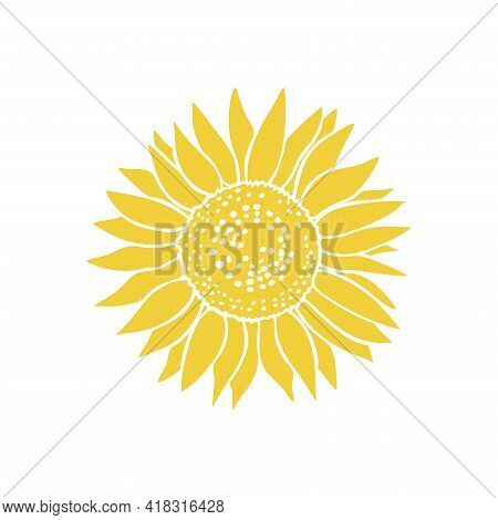 Vintage Sketch Icon With Yellow Sunflower Drawn Silhouette On White Background. Decoration Vector Il