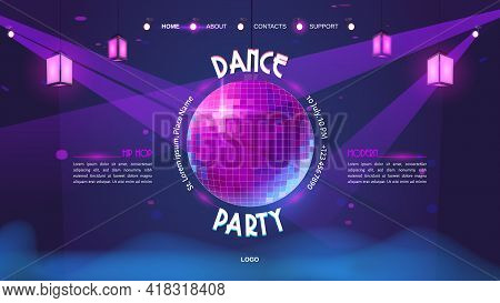 Dance Party Cartoon Landing Page With Glowing Disco Ball On Purple Neon Glowing Background. Invitati