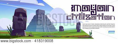Mayan Civilization Cartoon Web Banner. Ancient Pyramids Of Maya And Moai Statues On Easter Island. S