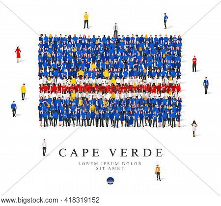 A Large Group Of People Are Standing In Blue, Yellow, White And Red Robes, Symbolizing The Flag Of C