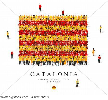 A Large Group Of People Are Standing In Yellow And Red Robes, Symbolizing The Flag Of Catalonia. Vec