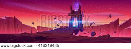 Magic Portal On Alien Planet, Space Landscape, Fantasy Scene With Rocks, Stone Doorway With Plasma G