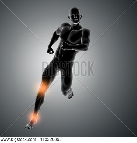 3D render of a male figure running with knee and ankle highlighted
