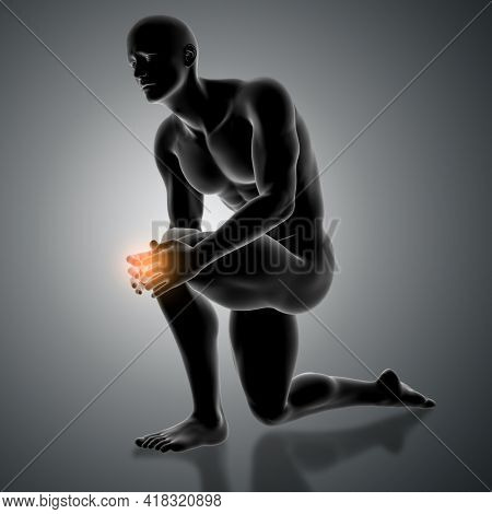 3D render of a male figure holding knee in pain