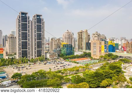 Taichung, Taiwan - September 10th, 2020: city scenery of skyscrapers near Wen-Xin Forest Park at Taichung city, Taiwan, Asia