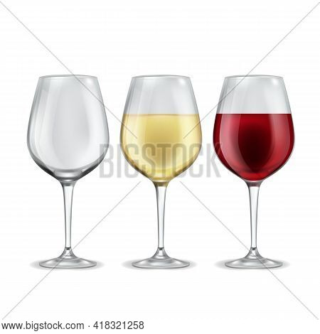 Wine Glass. Empty With Red Or White Grape Beverage Glasses, Half Filled Alcoholic Drink In Elegant T