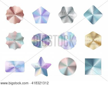 Holographic Guarantee. Quality Control Metal Stickers, Round Square And Star Geometric Shapes, Neon