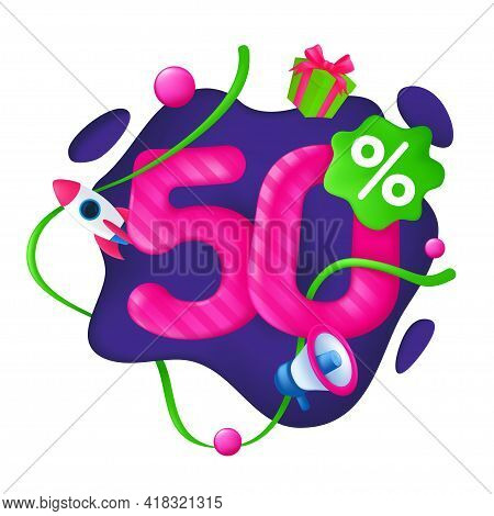 50 Percent Discount Price Tag. 50% Special Offer Promotion Label. Sale Badge With Advertising Symbol