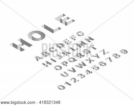 Isometric Hole Font. 3d Latin Gray Letters And Numbers, Abc Signs Techno Design, Deep Shapes English