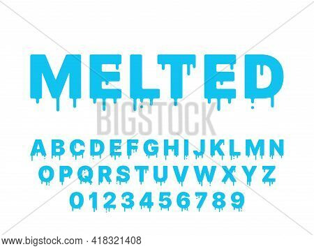 Melting Font. Blue Liquid, Flowing English Alphabet With Drops And Drips, Thawing Latin Letters And