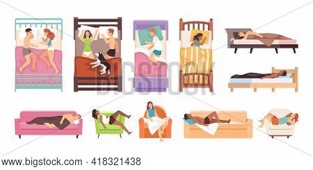 Sleeping People. Happy Women And Men Lying On Beds, Sofas And Armchairs, Persons Slumber Different P