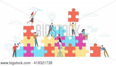 Puzzle Teamwork. Little People With Big Puzzle Pieces, Colleagues Cooperation, Working Collaboration