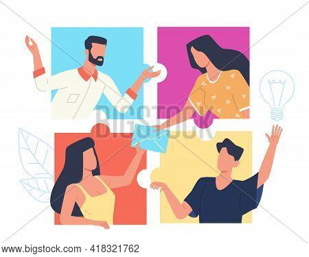 Online Connect Puzzle. Partnership Web Technology, People Group Work Via Internet, Remote Teamwork,