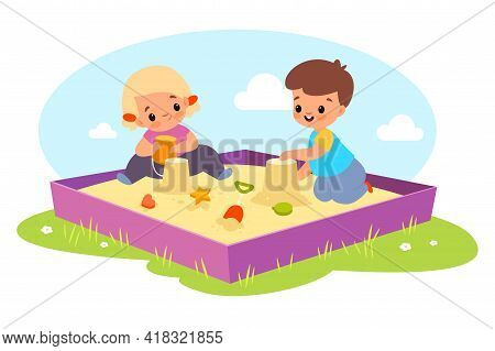 Kids In Sandbox. Happy Boy And Girl Play Outdoor With Sand And Toys, Children Make Cakes With Plasti
