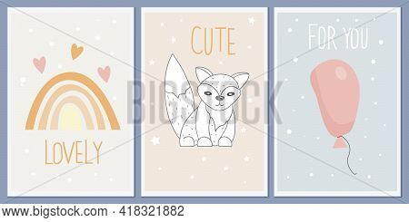 A Set Of Templates For Greeting Cards And Party Invitations With Animals. Cute Fox. Designer Vector