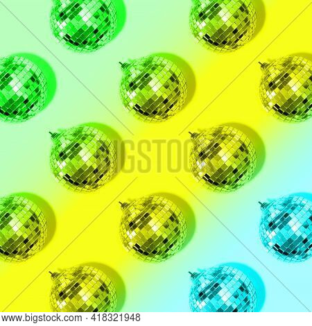 New Year Baubles. Shiny Gold Disco Balls On Neon Background. Pop Disco Style Attributes, Retro Conce