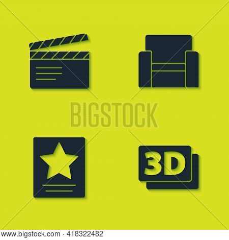 Set Movie Clapper, 3d Word, Hollywood Walk Of Fame Star And Cinema Chair Icon. Vector