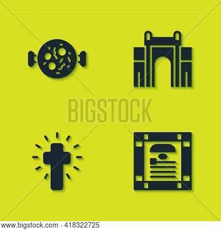Set Chicken Tikka Masala, India Constitution Day, Christian Cross And Gate In Delhi Icon. Vector