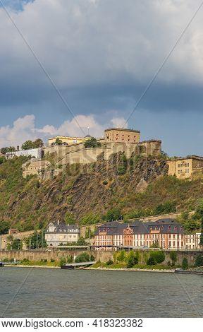 Historic Ehrenbreitstein Fortress At The River Rhine In Koblenz, Germany