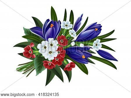 Illustration Of Greeting, Wedding Or Invitation Card Template With Bouquet Of Crocus And Primrose Fl