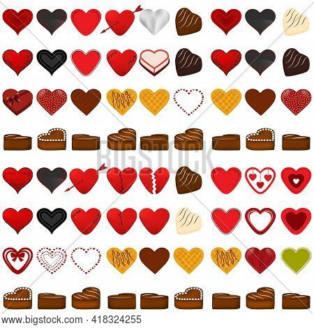 Illustration On Theme Beautiful Big Set Sweet Chocolate Candy Heart. Candy Heart Consisting Of Black
