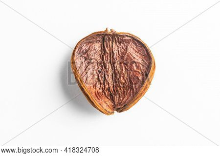 Top View On Dried Fruit Peel On White Background