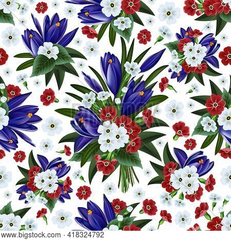 Illustration Of Floral Pattern With Crocus And Primrose Isolated