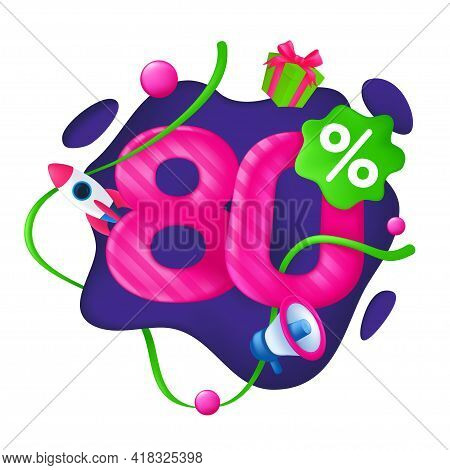 80 Percent Discount Price Tag. 80% Special Offer Promotion Label. Sale Badge With Advertising Symbol