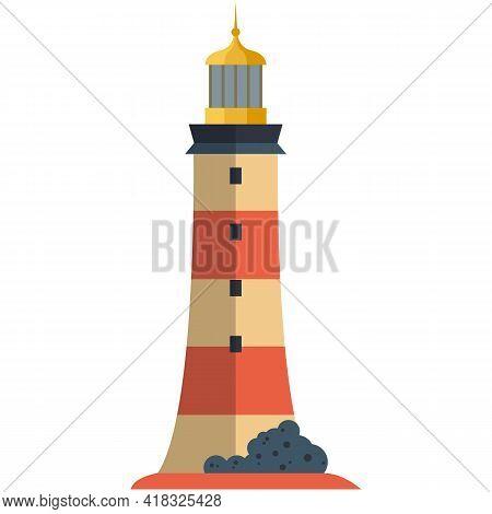 Vector Lighthouse Illustration Beacon Harbor Tower On White