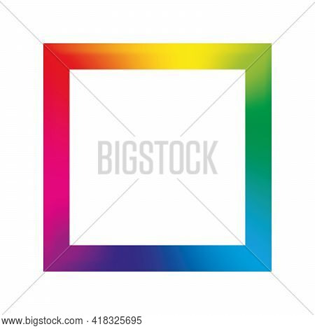 Colorful Rainbow Gradient Square Frame With Sharp Corners. Vector Illustration With Rainbow Light Sp