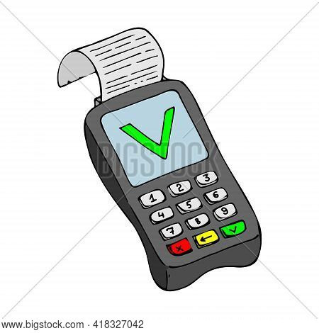 Pos-terminal Prints A Receipt For Payment From An Approved Transaction. Vector Illustration Isolated