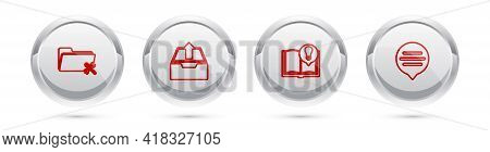 Set Line Folder Service, Upload Inbox, Interesting Facts And Speech Bubble Chat. Silver Circle Butto