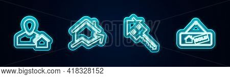 Set Line Realtor, Rising Cost Of Housing, House With Key And Hanging Sign Sold. Glowing Neon Icon. V