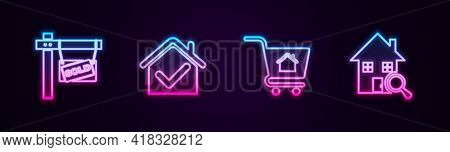 Set Line Hanging Sign With Sold, House Check Mark, Shopping Cart House And Search. Glowing Neon Icon