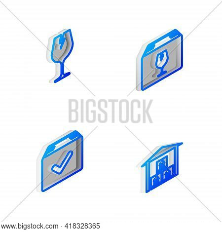 Set Isometric Line Delivery Box With Fragile Content, Fragile Broken Glass, Package Check Mark And W