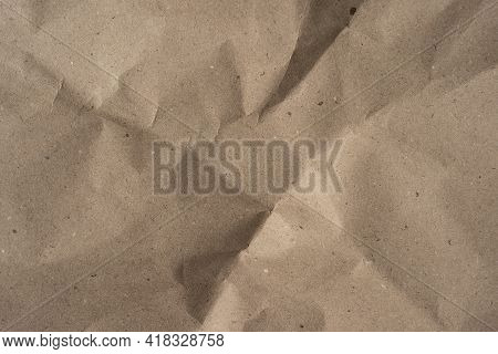 Crumpled Beige Recycle Paper Background Texture, Top View For Design Or Background, Crumpled Paper W
