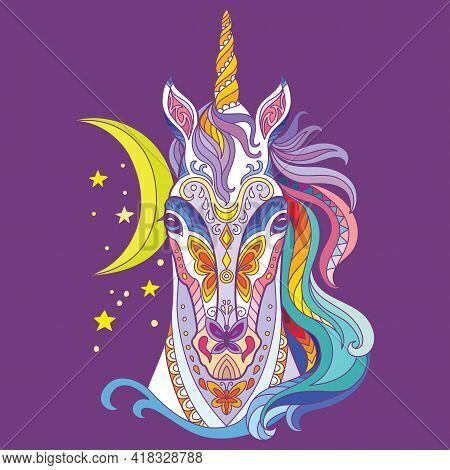 Head Of Unicorn With Doodle And Zentangle Elements. Abstract Vector Colorful Illustration Isolated O